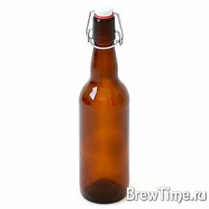 Бутылка с бугельной пробкой, 0,5л коричневая